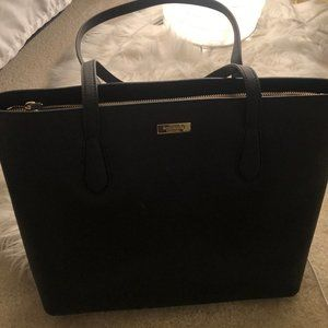 Kate Spade Black Crosshatched Leather Tote